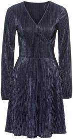 Bonprix Sukienka plisowana z dżerseju z połyskiem ciemnoniebieski