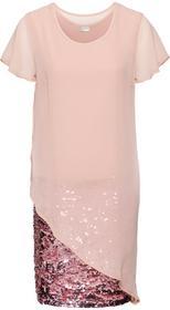 Bonprix Sukienka koktajlowa z dżerseju z cekinami stary jasnoróżowy