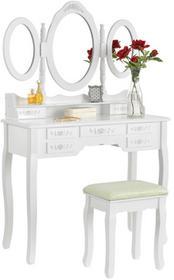 Beauty System Toaletka biała ELSA 3 lustra 7 szuflad + taboret BL-001