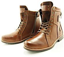 KENT KENT 237 BRĄZ - Wysokie męskie buty zimowe ze skóry
