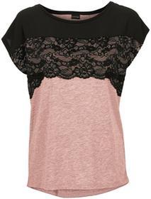 Bonprix Shirt z koronką czarno-jasnoróżowy vintage