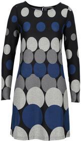 Bonprix Sukienka dzianinowa w grochy czarno-ciemnoniebiesko-ciemnoszaro-jasnoszary