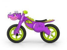Milly Mally Drewniany rowerek biegowy DINO fioletowy pompowane koła