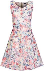 Bonprix Sukienka biel wełny - różowy w kwiaty