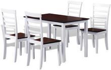 vidaXL Zestaw do jadalni/kuchni stół i 4 krzesła Brąz+Biel