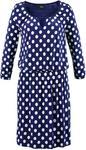 Bonprix Sukienka z dżerseju. rękawy 3/4 kobaltowo-biały w kropki