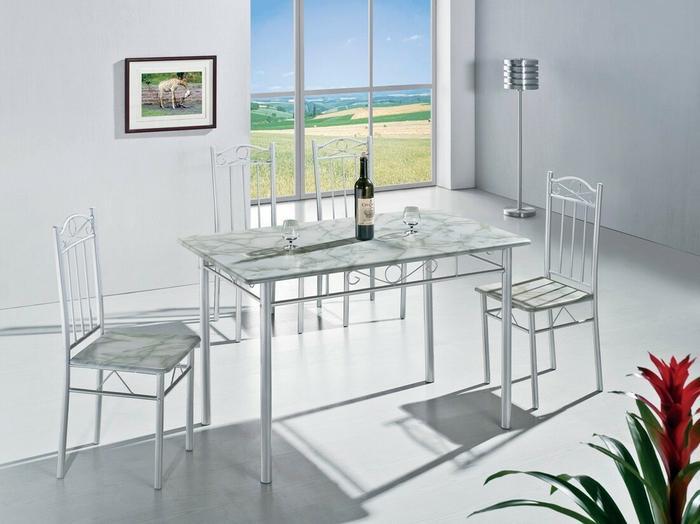 Lectus Zestaw stołowy Registra  4 krzesła jasny marmur