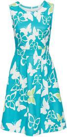Bonprix Sukienka z nadrukiem w motyle turkusowo-kremowy wzorzysty
