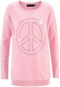Bonprix Długi sweter z aplikacją w kształcie pacyfki ze sztrasów pudrowy jasnoróżowy