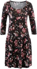 Bonprix Sukienka, rękawy 3/4 czarno-bordowy w kwiaty