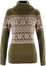 Bonprix Sweter z golfem zielony khaki - perłowy jasnoróżowy wzorzysty