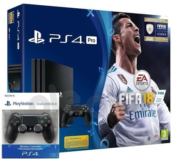 Sony PlayStation 4 Pro 1TB Czarny + FIFA 18 + 2xDualshock 4