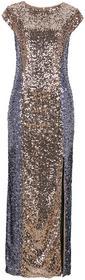 Bonprix Sukienka z cekinami koniakowo-srebrny
