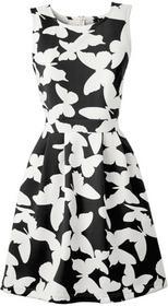 Bonprix Sukienka z materiału o wyglądzie neoprenu czarno-kremowy