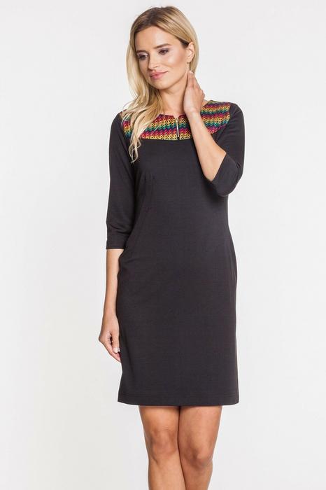 75f531df83 De Facto Czarna sukienka z kolorową wstawką przy ramionach – ceny ...