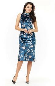 Elegancka dopasowana sukienka midi kwiaty