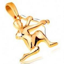 Biżuteria e-shop Dwukolorowa złota zawieszka 585 - symbol znaku zodiaku - STRZELEC