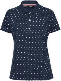 Bonprix Shirt polo z bawełny pique ciemnoniebiesko-biały w kropki
