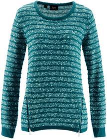 Bonprix Sweter z zamkami po bokach niebieskozielony morski melanż