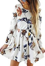 Angashion damska sukienka z długim rękawem A-Line do kolan kwiaty jesienna sukienka retro-Look suknia wieczorowa sukienka Casual impreza sukienka -  plisy biały B0776V3T59