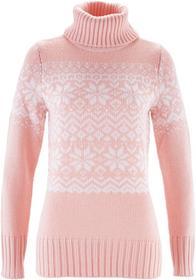 Bonprix Sweter z golfem perłowy jasnoróżowy -biały wzorzysty