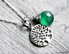 925 Srebrny łańcuszek drzewo życia & onyks
