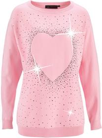 Bonprix Długi sweter z aplikacją ze sztrasów w kształcie serca pudrowy jasnoróżowy