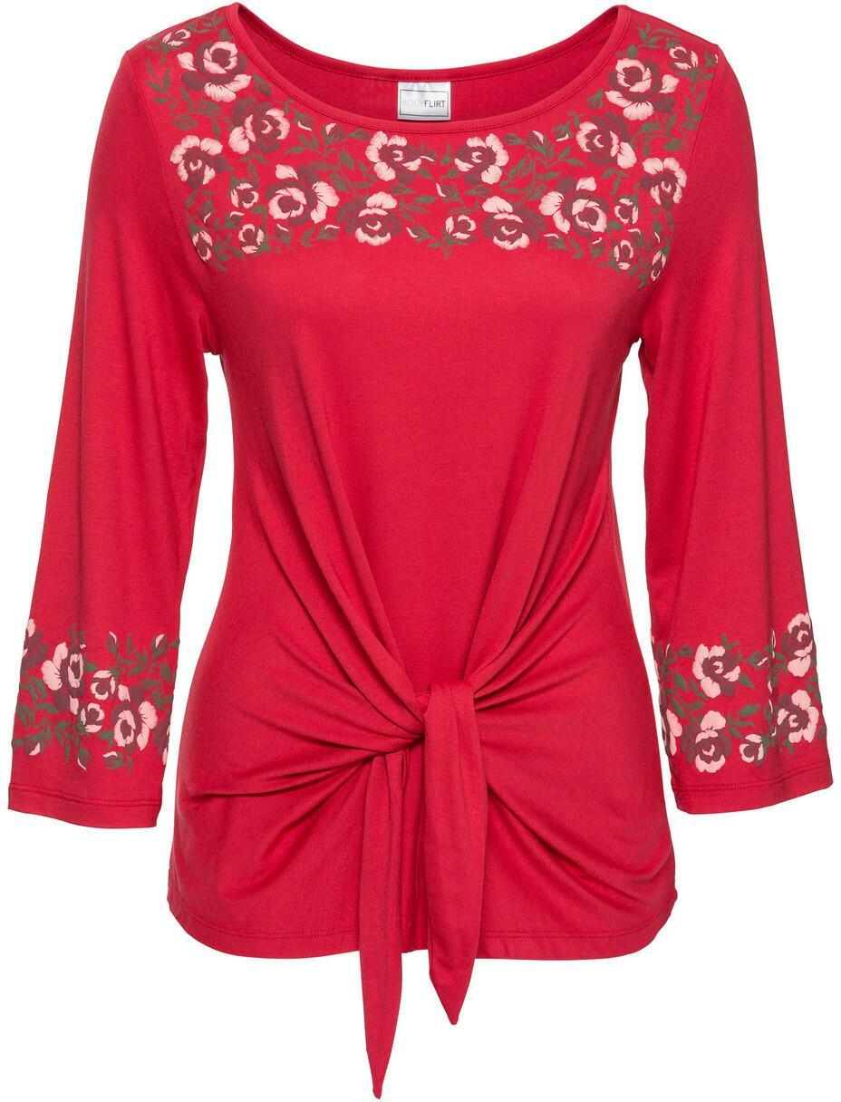 b135c639 Bonprix Shirt z kwiatowym haftem czerwony – ceny, dane techniczne ...