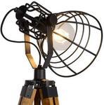 Lucide Stojąca LAMPA podłogowa JOSHUA 45757/01/30 druciana OPRAWA na trójnogu drut loft drewno czarna 45757/01/30