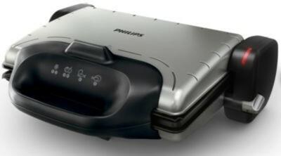 Philips Grill HD4467/90zdrowia (2000W, 3W 1, prążkowane blat) Czarny/srebrny 876491