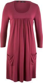 Bonprix Sukienka shirtowa z rękawami 3/4 czerwony rododendron