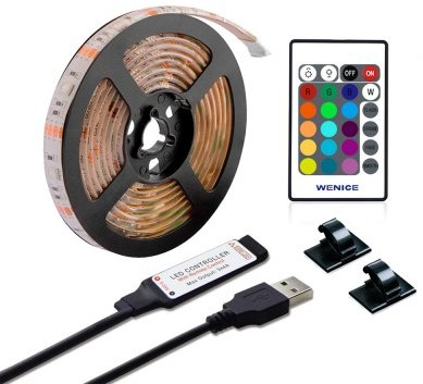 Leds-C4 ZDM Waterproof USB TV Backlight LED Strip Lights 5050 60 RGB with 24 Key IR Remote Controller 5V