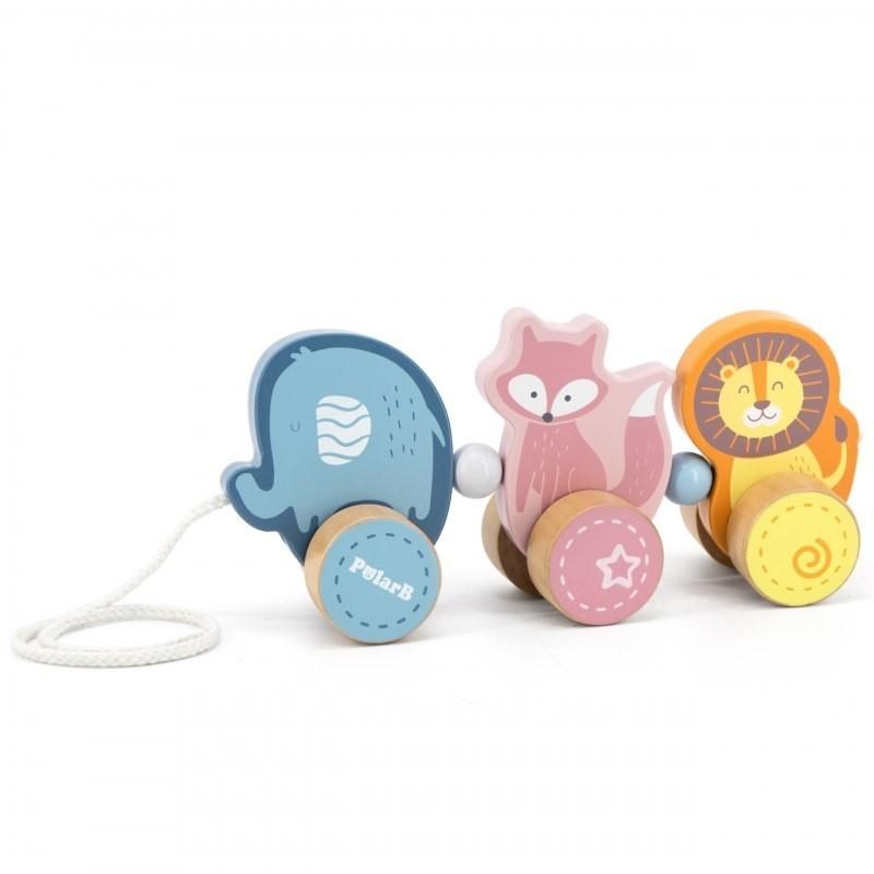 Viga Toys Drewniane zwierzątka do ciągnięcia z serii PolarB