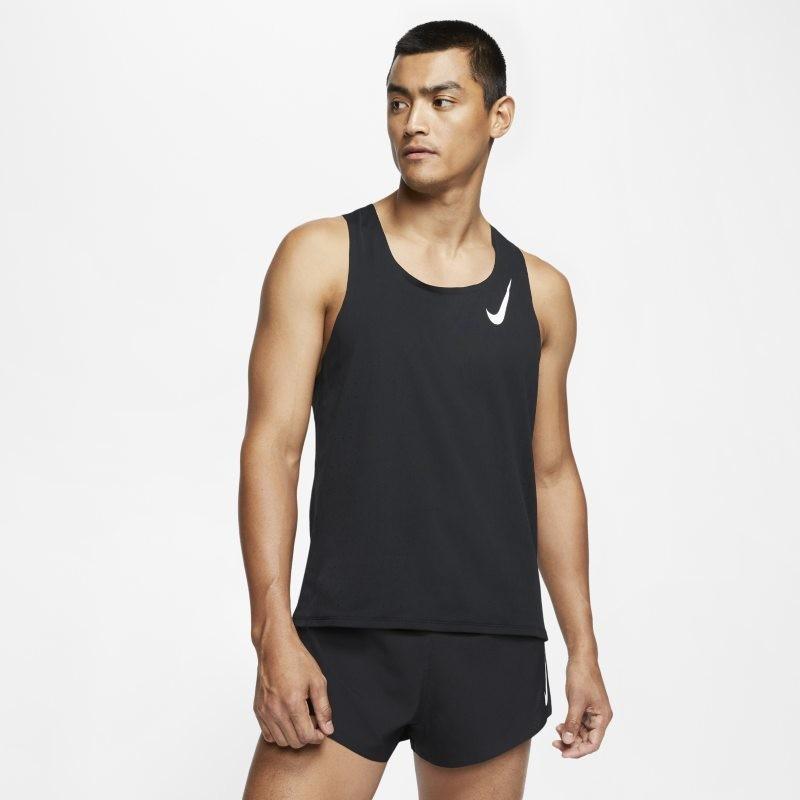 Nike Męska koszulka bez rękawów do biegania AeroSwift - Czerń CJ7835-010