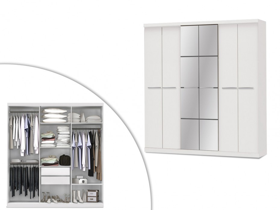 Vente-Unique Szafa z lustrem WILHELM - 6 drzwi - dł.203 cm - Kolor: biały