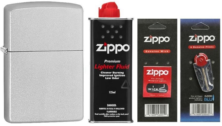 Zippo [Zestaw] 205 + Zestaw eksploatacyjny (benzyna, knot, kamienie)