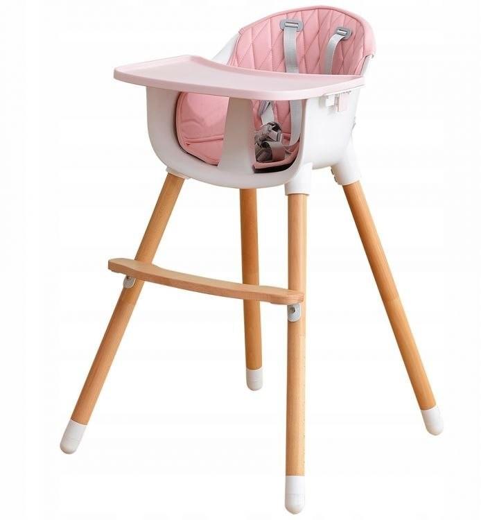 Ecotoys Drewniany fotelik do karmienia 2w1 pink 995