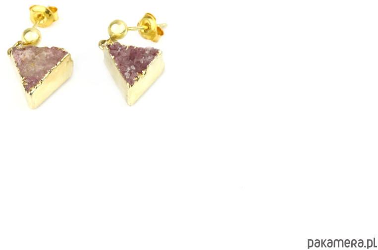 Earrings Druzy Agatu Róż złoto