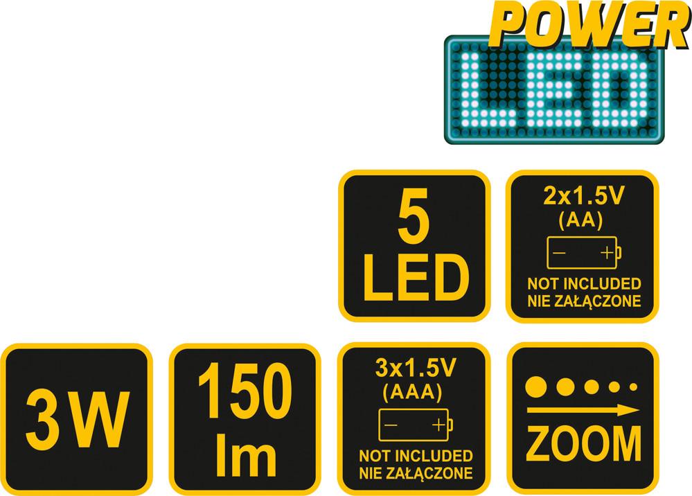 Vorel ZESTAW LAMP ROWEROWYCH PRZEDNIA 3W CREE LED + TYLNA 5 LED 88422 VOREL ZYSKAJ RABAT 30 ZŁ 88422