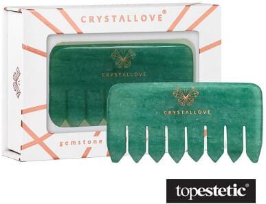 Crystallove Crystallove Grzebień do Masażu Skóry Głowy z Awenturynu Kamień zdrowia i optymizmu 1 szt