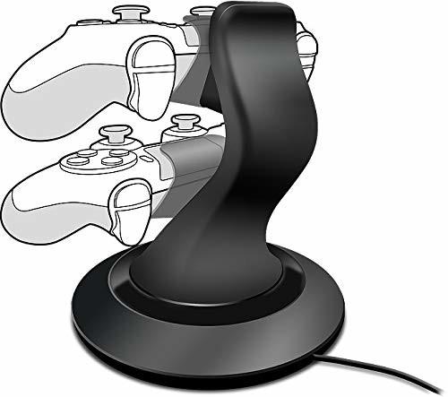 SPEEDLINK Speedlink stacja ładowania kontrolera do PS4 - system ładowania Twindock z zasilaczem AC (wygodny system wtykowy dla dwóch kontrolerów - bezpieczne trzymanie całej ładowarki - łatwe zakładanie kontrol SL-4511-BK