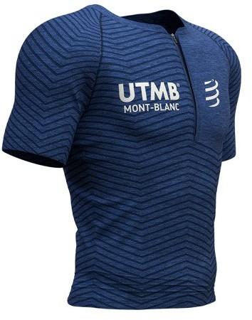 CompresSport koszulka biegowa kompresyjna Trail Running Postural SS Top UTMB 2019 niebieska