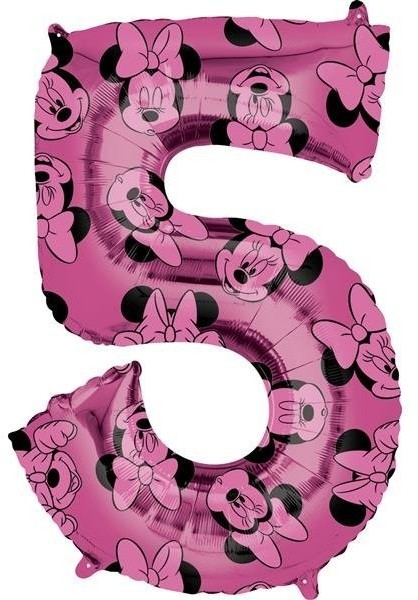 Amscan Balon foliowy, Myszka Minnie, cyfra 5, różowy, 1 sztuka