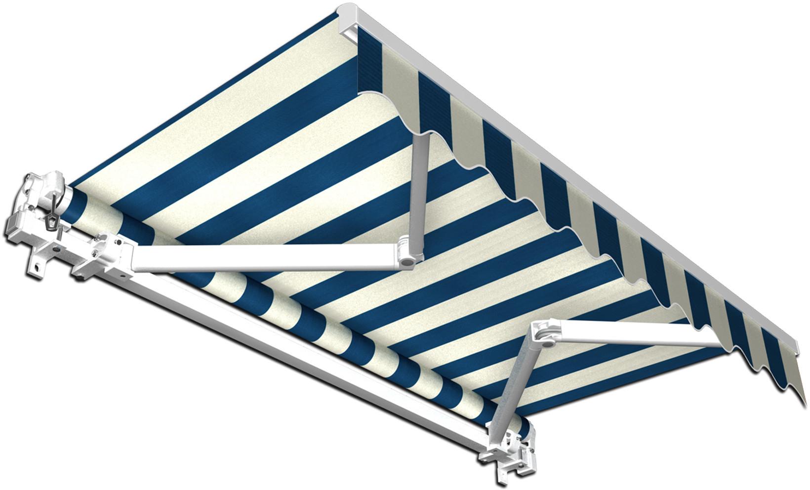 Jarolift Markiza Tarasowa Gotowa Basic, biało-niebieska, 350x300 cm