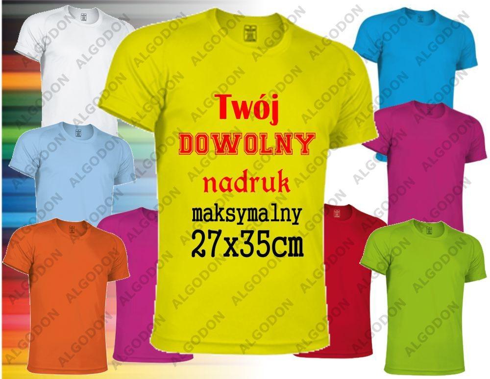 Valento Koszulka z nadrukiem z jednej strony sportowa oddychająca termoaktywna T-shirt z własnym indywidualnym nadrukiem L zolty-fluo