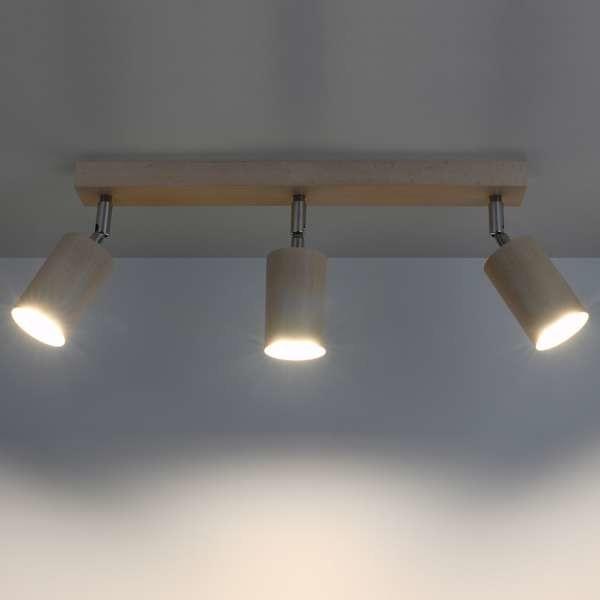 Sollux Lighting Sufitowa LAMPA ekologiczna SL.703 drewniana OPRAWA regulowane tuby plafon reflektorki chrom SL.703