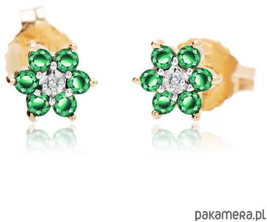 Diamenty złote kolczyki różowe złoto 585