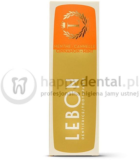 Lebon LEBON CINNAMON MINT Toothpaste 75ml (pomarańczowa) - pasta do zębów z naturalnych składników o smaku subtelnej mięty z domieszką aromatycznego cynamonu, zapewniająca niesamowite odświeżenie