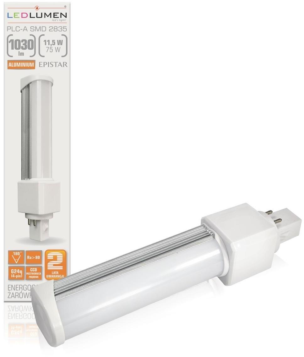LEDlumen Żarówka LED CCD WW PLC-A, G24q, 11,5 W, barwa biała ciepła
