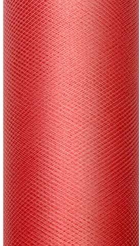 PartyDeco Tiul gładki, czerwony, 0,08 x 20 m TIU8-007